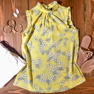 Who What Wear Yellow Floral Ruffle Tank Top